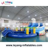 Waterworld Theme Aqua park inflatable water slide with pool for kids