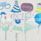 Happy birthday party favor one birthday glitter paper photo props for boy birthday party decoration