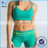 Yihao 2015 High Quality Women Solid Gym Sportswear Yoga Active Fitness Sexy Sports Bra and Panty New Design Set
