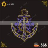 Bling hot fix anchor rhinestone motif design for T-shirt