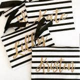 personalized makeup bab bridemaid gift black and white stripe bag