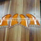 SUP Surfboard Boards Fins Future Fins Honey & Carbon Orange Fins Transparent