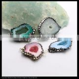 LFD-0097B Wholesale Agate Geode Quartz Connector Bead, with Pave Crystal and Silver / Gold Foil /Gem Stone Druzy Beads