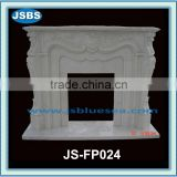 Indoor white marble fireplace design