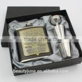 6oz/7oz Personalized wedding gift for groom or Groomsman gift of hip flask with 2 cups funnel set