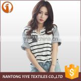 2016 wholesale EXW girls/ladies Fashion Cotton Stripe Round Collar Short Sleeve T-shirt Women