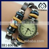nice design leather strap wooden beaded leather bracelet with watch