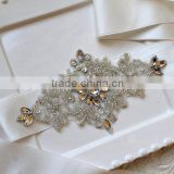 Bridal crystal rhinestone ribbon sash,Beaded applique wedding belts and sashes