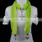 jewel beads pendant scarf necklace
