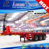 20ft/ 40ft flatbed type container transporting ending dumper 3 axles hydraulic tipping trailer                                                                         Quality Choice