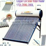 100L~500L Compact/Integrated Vacuum Tube Copper Coil Solar Water Heater With Assistant Tank
