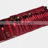 22pcs professional natural goat hair oem makeup brush set/cosmetic brushes kit/private label free sample with a wine red pouch