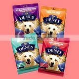 heat seal custom design pet food/potato chips waterproof plastic packaging bag with printing and hanger hole