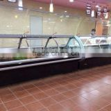 Deli food display counter serve over case black color meat chiller fresh fish showcase                                                                         Quality Choice