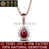 MBH jewellery hot sale classic diamond gems jewelry 18k glod inlay natural red ruby precious gemstone pendant necklace for women