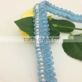 vintage antique LT blue satin ribbon braid pearl bead lace trim