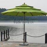 Malaysia Editha 7 star hotel garden water proof solar outdoor 3.5 MM Green steeless patio umbrellas                                                                         Quality Choice