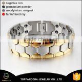 Gold Silver Two Tone Stainless Steel Power Magnetic Bracelet for Woman With Element of Magnets                                                                         Quality Choice