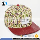 Daijun New Design OEM Hot Sale 100%Cotton Leather Plastic Buckle Patch Custom Men Red Camo Hat