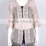 Cheap import products hot selling V neck batwing sleeve cardigan no button thin pattern knitted sweater with crochet