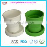 Kitchen Gadgets Wholesale Folding Design Silicone Cup With Lid FDA&LFGB Certification