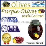 High Quality 100% Tunisian Table Olives,Purple Olives Broken With with Lemon, Purple Olives 370 ml Glass Jar