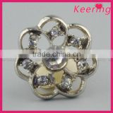 Keering new arrival decorative fashionable shiny metal rhinestone button for garments WBK-1493