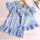 Fashionable wholesale girls clothing stripe tassles designer one piece mother daughter matching western style dress
