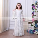 Elegant White Tulle Flower Girl Dresses for Weddings Lace Floor Long Kids Ball Gown New Little Girls Party Dress