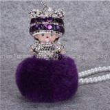Cute Cartoon Figure Monchhichi Dolls Car Pearl Pendant, Women Handbag Cartoon Characters Fur Pearl Hanging Drop
