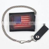 HMB-725B BIKER LEATHER WALLET CHAIN BLACK USA FLAG TRIFOLD