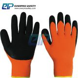 Warm Keeping 7G Acrylic Loop Napping Liner Latex Crinkle Coated Work Gloves for Winter