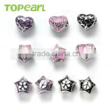 Topearl Jewelry Assorted Stainless Steel European Charm Heart Bead Star Bead Different Colors TCP09