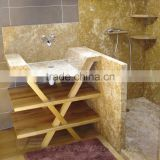 Beige marble shower pan and surrounds