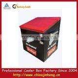 2015 newest promotion metal cooler box,budweiser metal cooler box with can opener