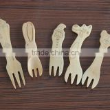 Animal shaped wooden cutlery spoon fork 5pcs baby fork set