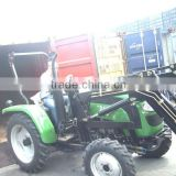 35HP mini tractor with front loader 4in1 bucket and backhoe,4cylinders,8F+2R shift,with Cabin,turf tyre,trailer,blade