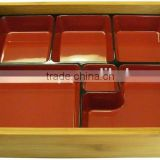 bamboo tray with snack dishes, bamboo lunch boxes for hotel