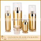 2013 Gold set jar ,Oval acrylic cosmetic jar and lotion bottle with pump                                                                         Quality Choice