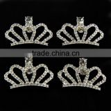 26x41MM Wholesales Bulk Cheap Silver Plated Alloy Crown Crystal Rhinestone Button For Baby Girl Jewelry Garment Accessory