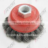 cup brush with twist knotted wire