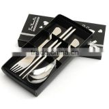 M004 3 PCS Stainless steel fork spoon chopsticks set