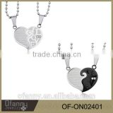 316l stainless steel jewelry black white half heart couple necklace