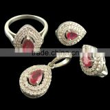 925 Sterling Silver Pendant , Earring , Ring set Russian Look fine quality Natural Ruby Gemstone 4 pieces set Earring Ring