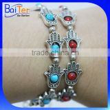 Wholesale Cheap Alloy Red & Blue Turquoise Bead Adjustable Evil Eye Bracelet Fitima Hand Bracelet Hand of Fatima Hand Bracelet