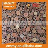 wholesale round wood wall decoration coconut shell mosaic tiles