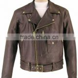 Mens Brown Leather Classic Motorcycle Jacket