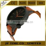 Magnus Black Dial Cognac Brown nato strap Leather Mens labor watch japan
