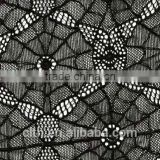 spider net shape heavy black lace fabric for women skirt