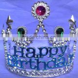 9cm high metallic silver happy birthday plastic tiaras and crowns